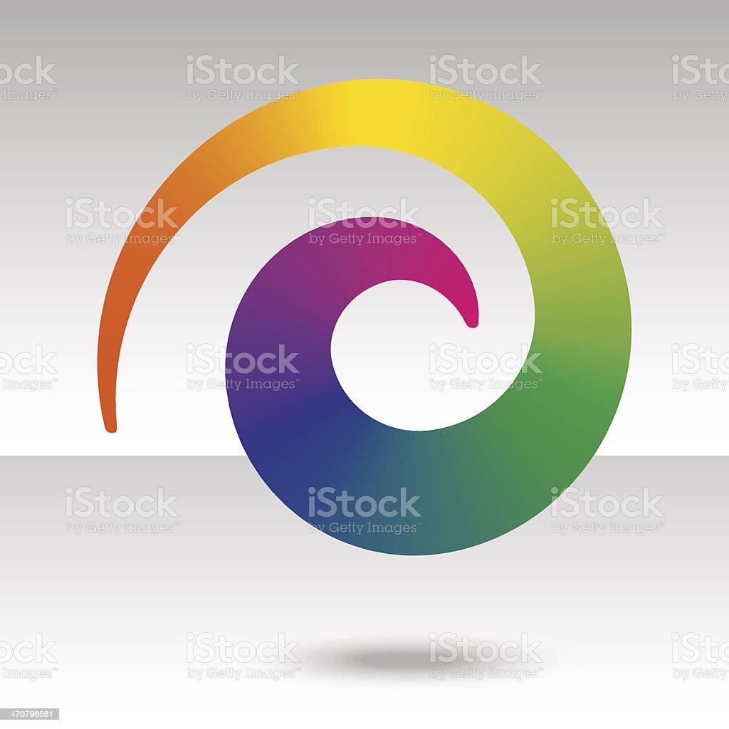 rainbow spiral with shadow vector art illustration