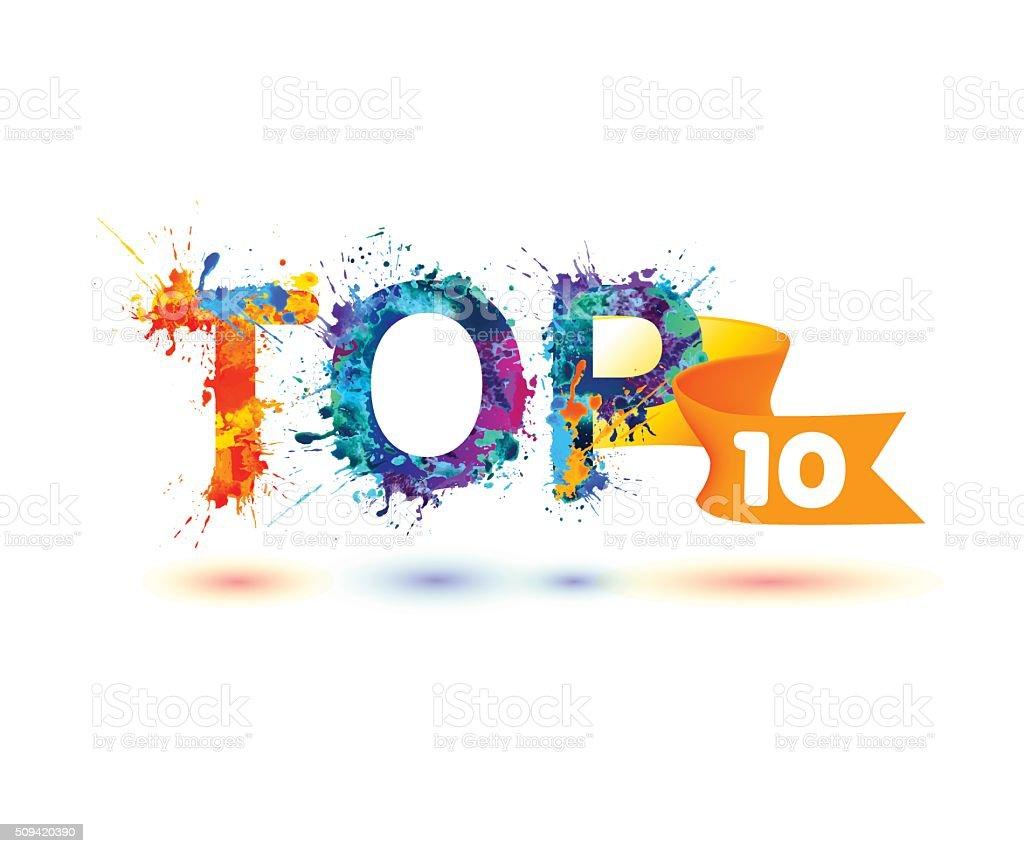 TOP 10. Rainbow splash paint vector art illustration