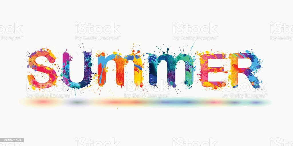 SUMMER. Rainbow splash paint word vector art illustration