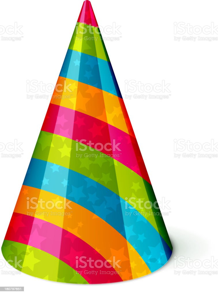Rainbow striped party hat against a white background vector art illustration