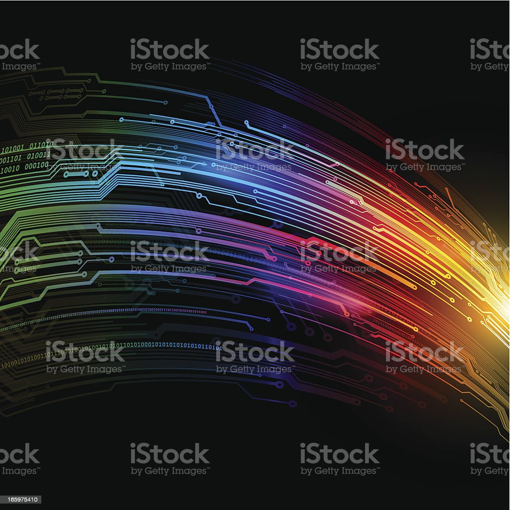 Rainbow technology stream vector art illustration