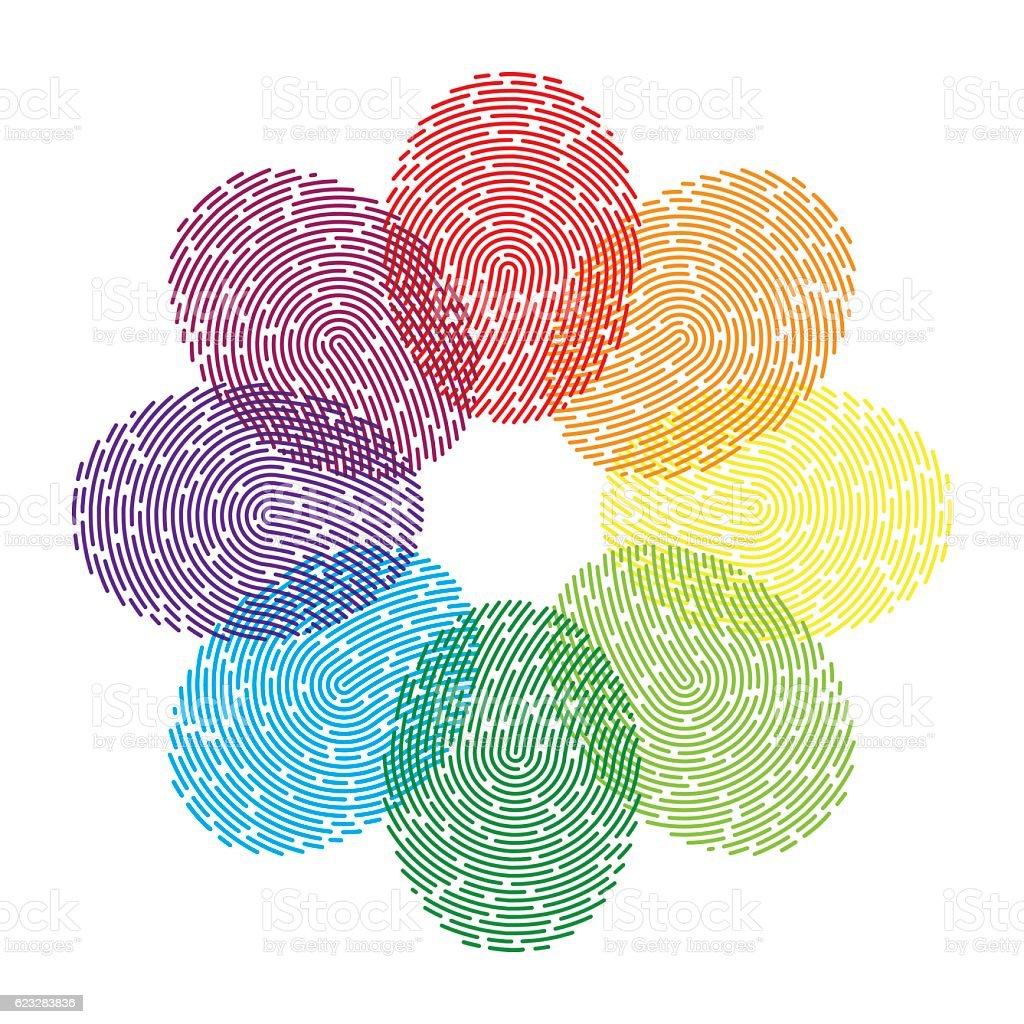 Rainbow Thumbprint vector art illustration
