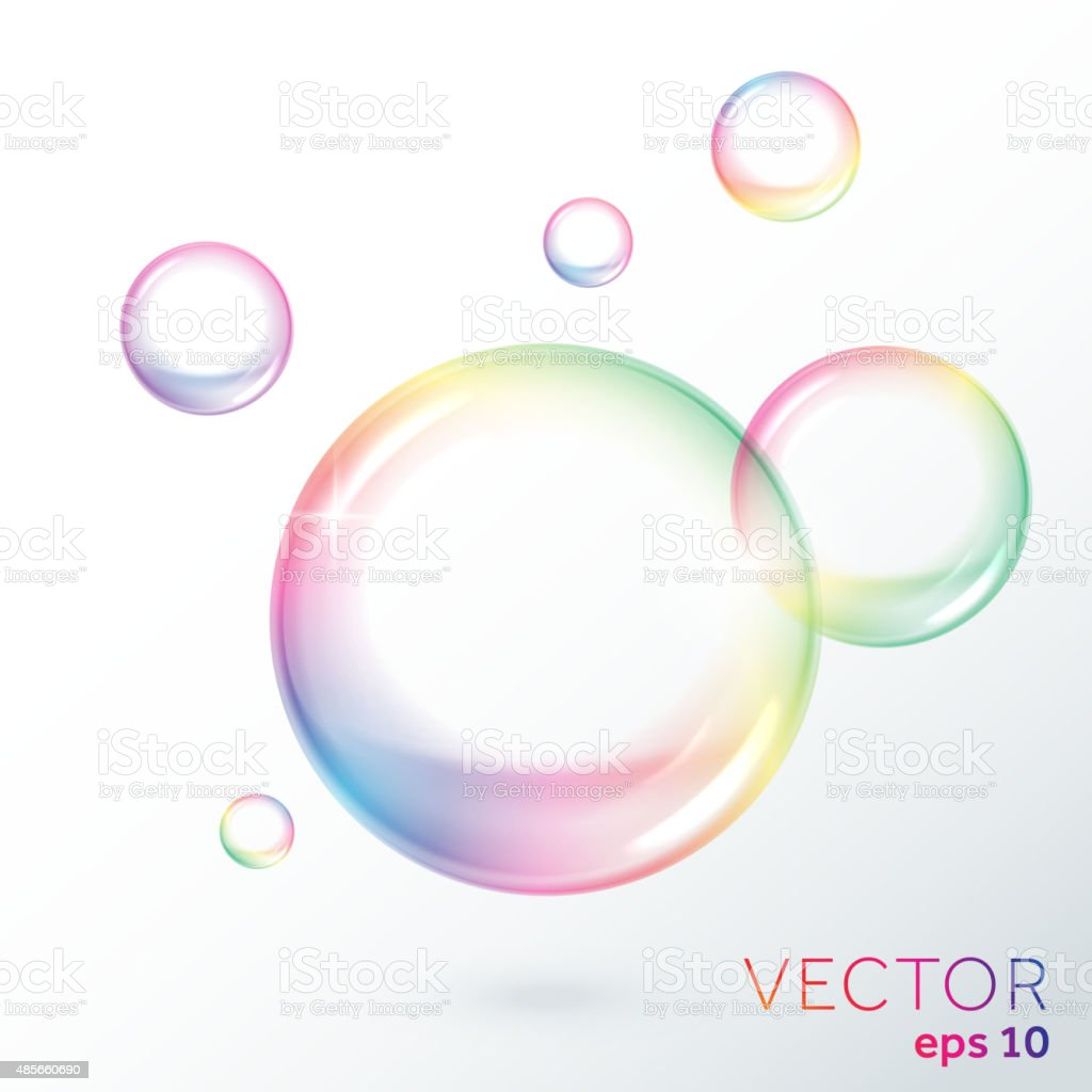 Rainbow transparent vector soap bubbles vector art illustration