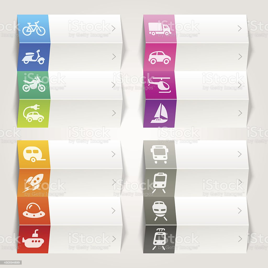 Rainbow - Transport and vehicle Icons / Navigation template royalty-free stock vector art