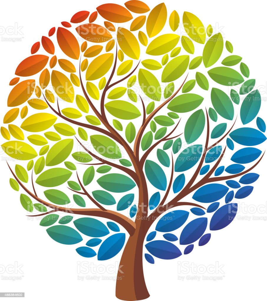 Rainbow tree vector art illustration