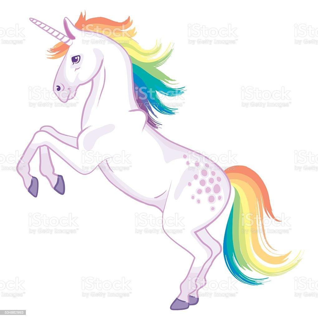Rainbow unicorn rearing vector art illustration