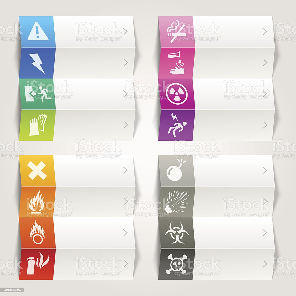 Rainbow - Warning and Danger icons / Navigation template royalty-free stock vector art
