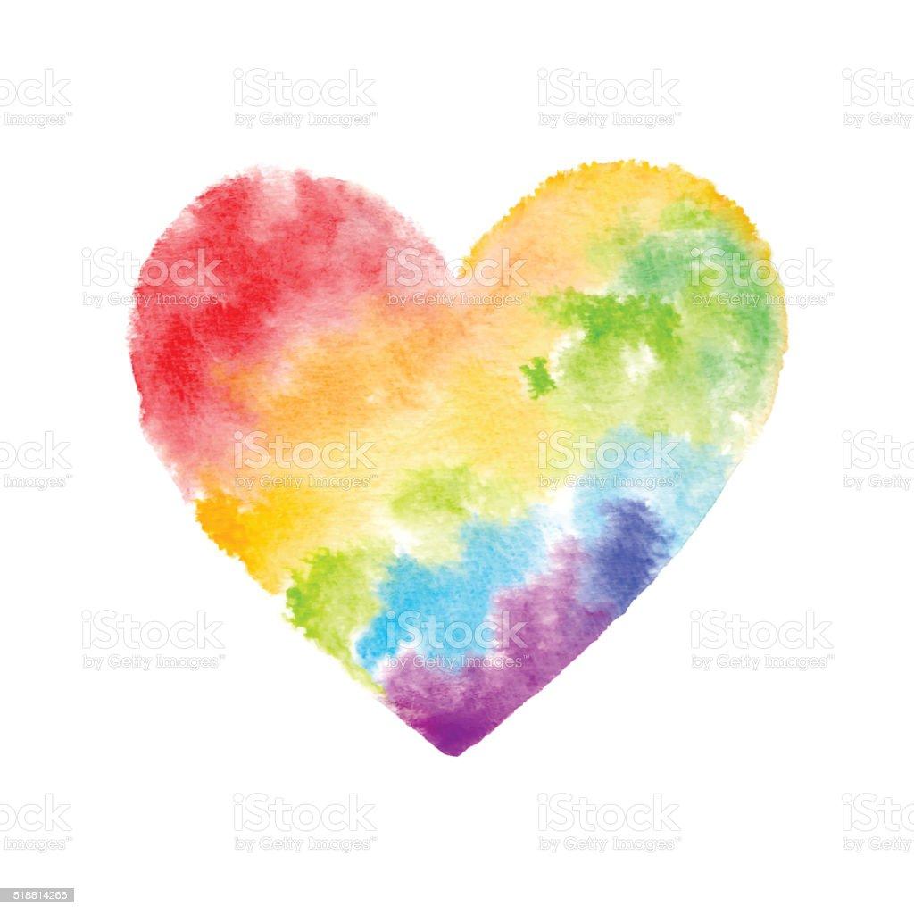 Rainbow Watercolor Heart vector art illustration