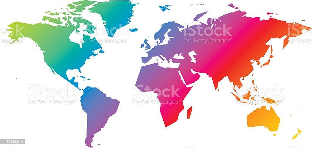 Rainbow world map vector art illustration