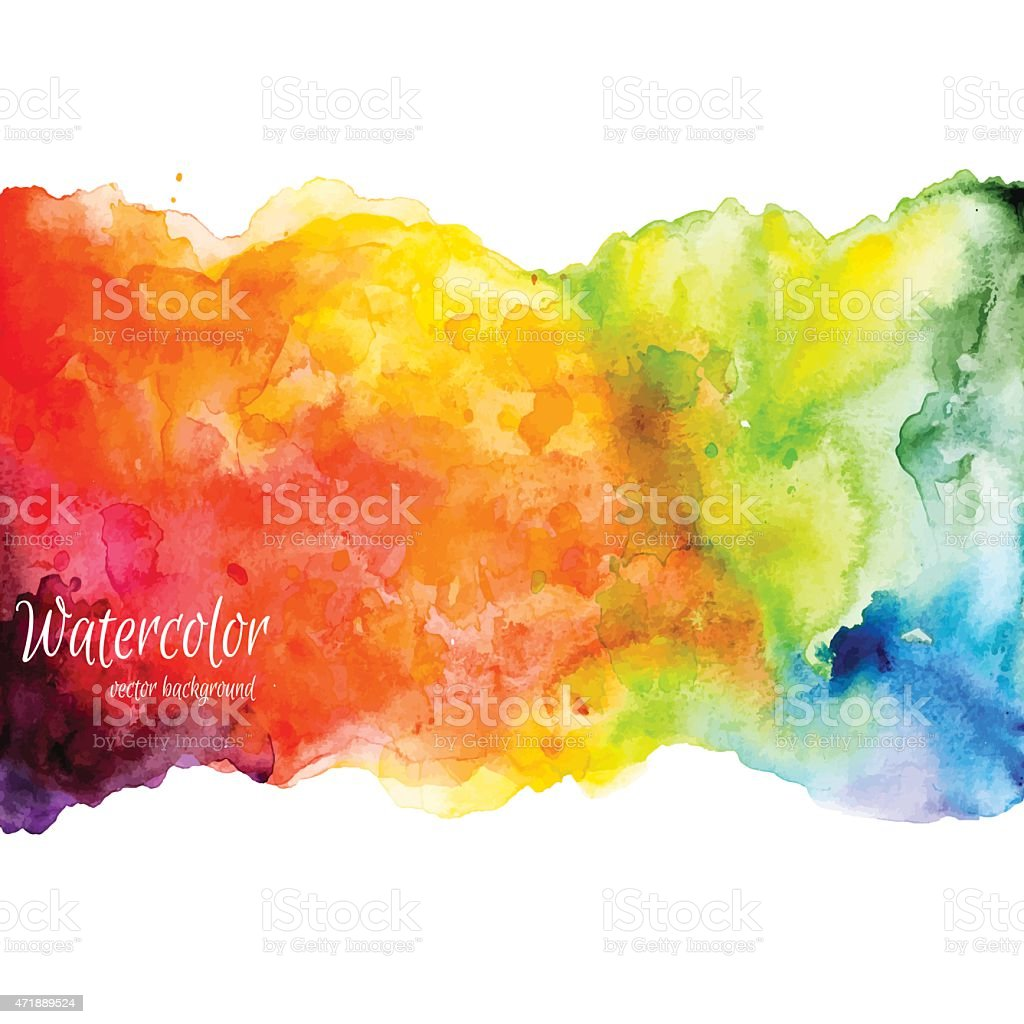 Rainbow-colored watercolor illustration over white vector art illustration