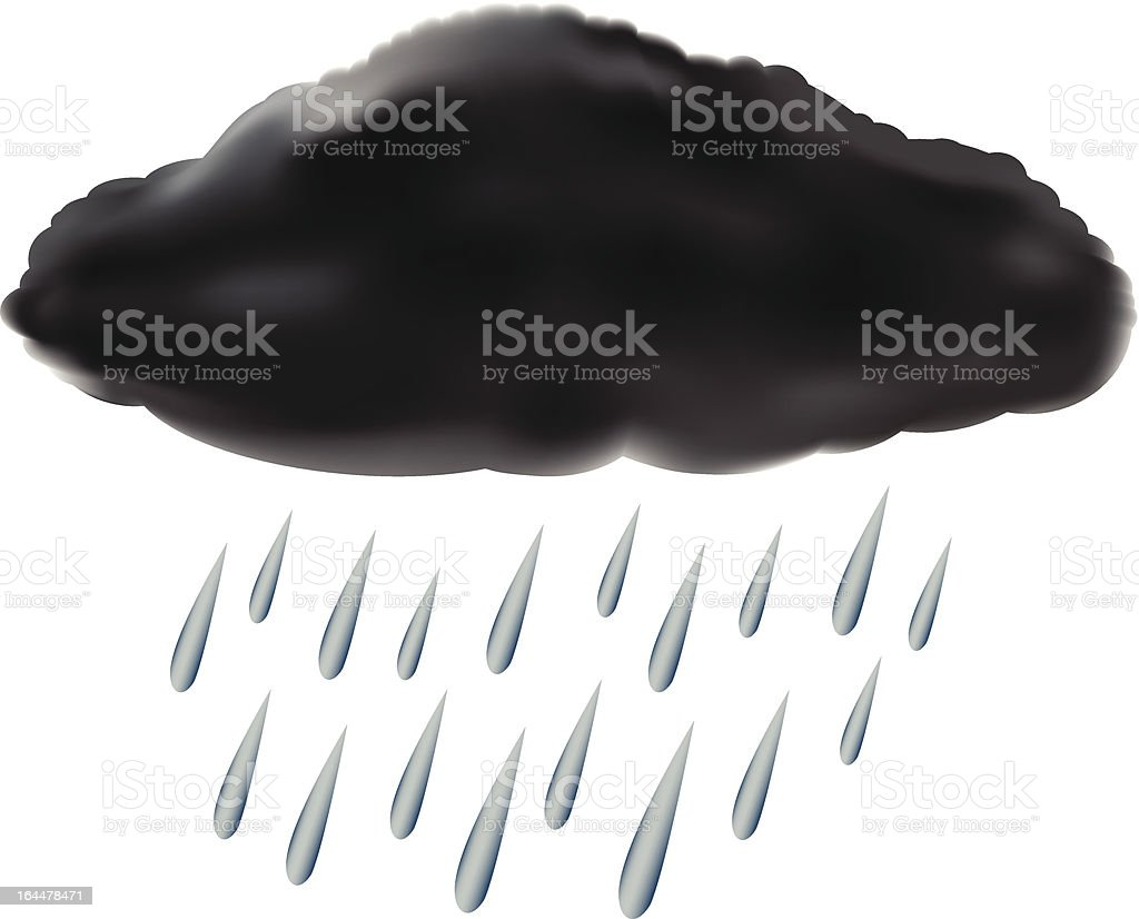 raincloud with raindrops vector art illustration