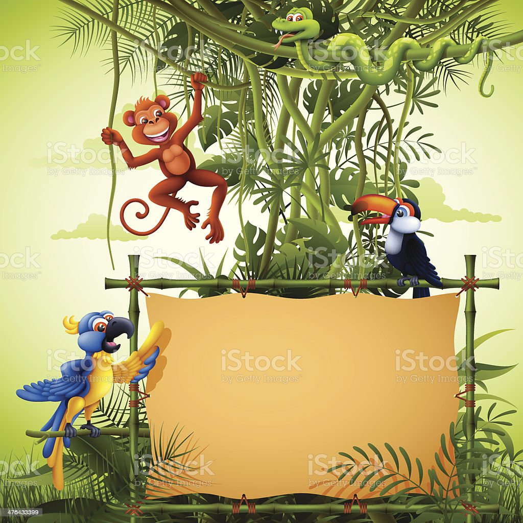 Rainforest with Banners and Wild Animals vector art illustration