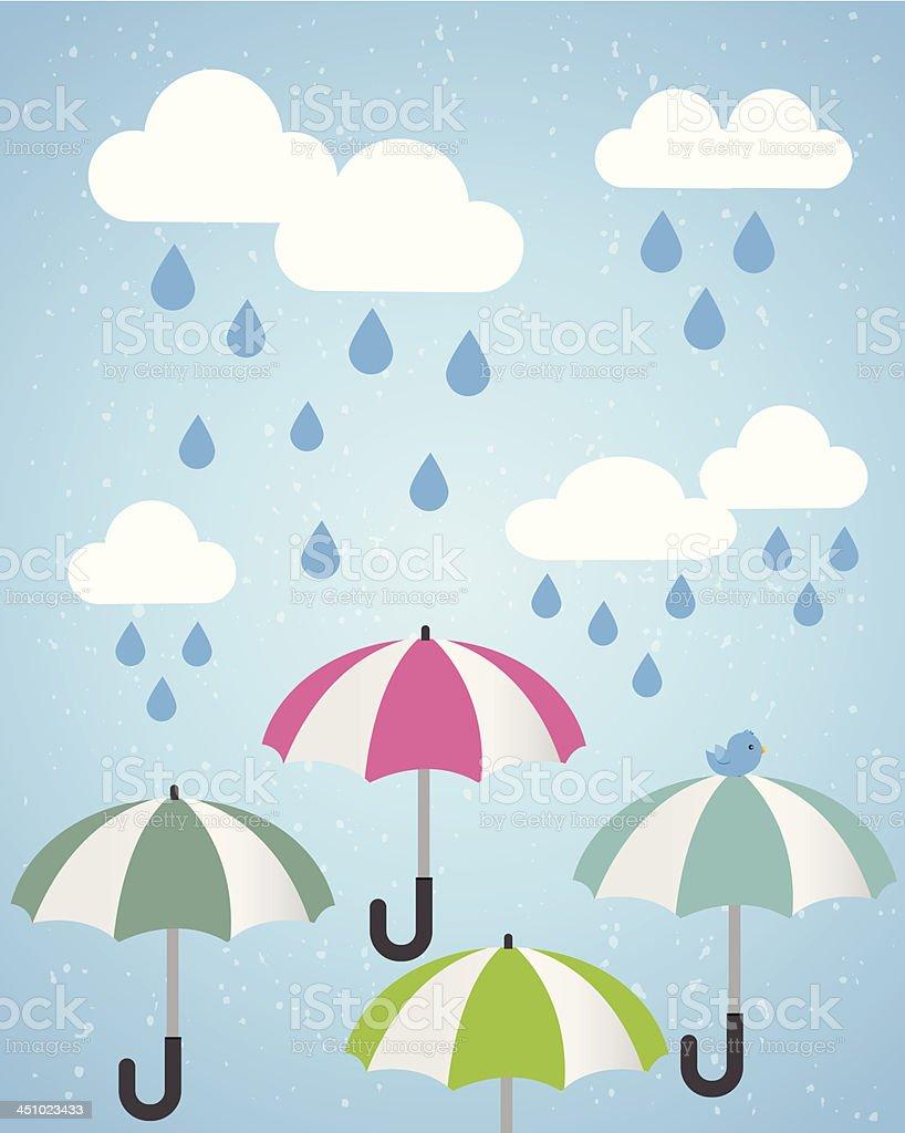 Raining And Umbrellas royalty-free stock vector art