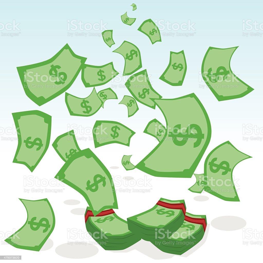 Raining money vector art illustration