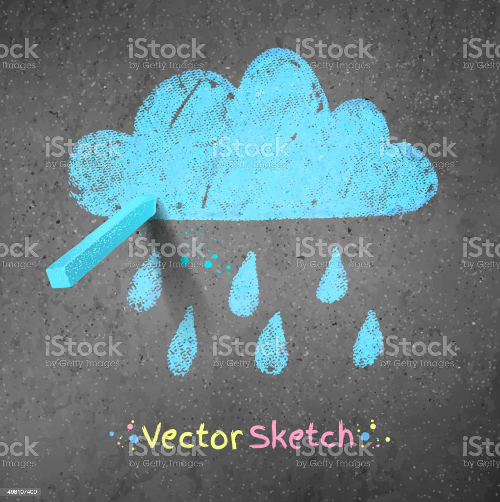 Rainy cloud vector art illustration