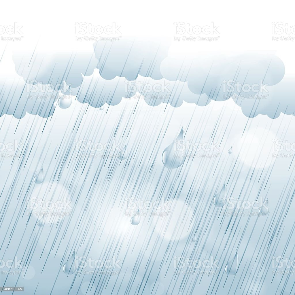 Rainy day autumn background with rain drops and clouds vector art illustration