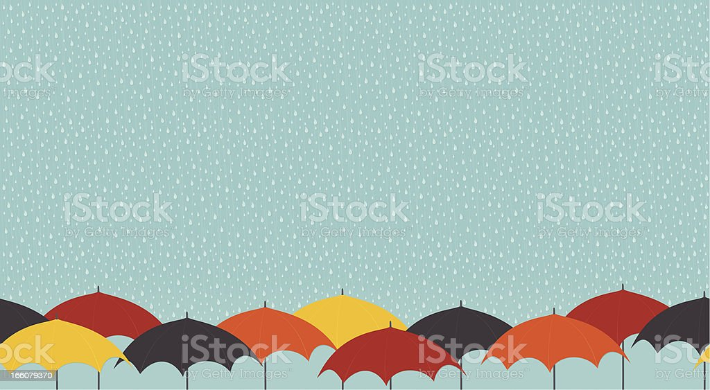 Rainy day with umbrellas vector art illustration