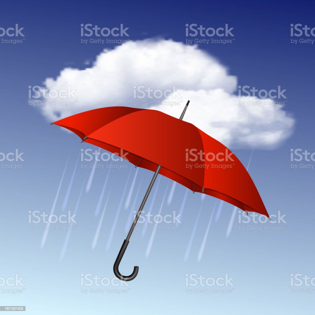Rainy weather icon with clouds and umbrella royalty-free stock vector art