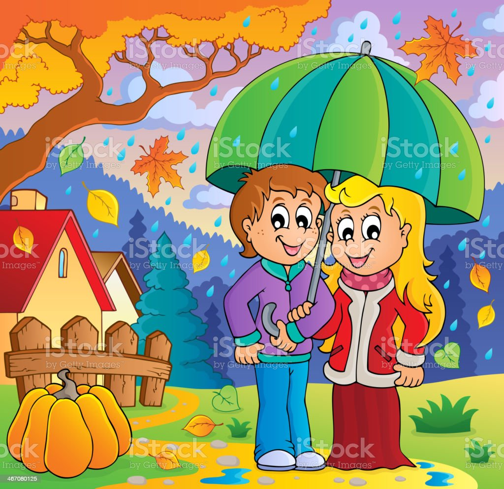 Rainy weather theme image 2 royalty-free stock vector art