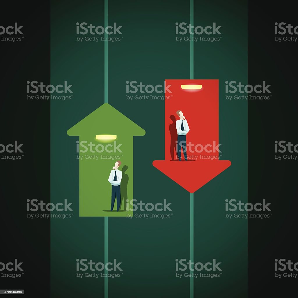 Raise and fall of business indicators. Career lift concept. vector art illustration