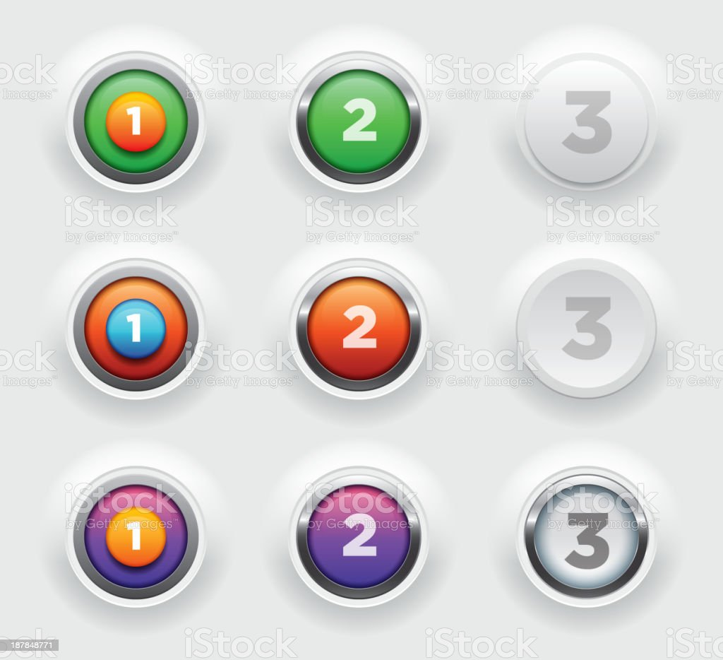 Raised button collection royalty-free stock vector art