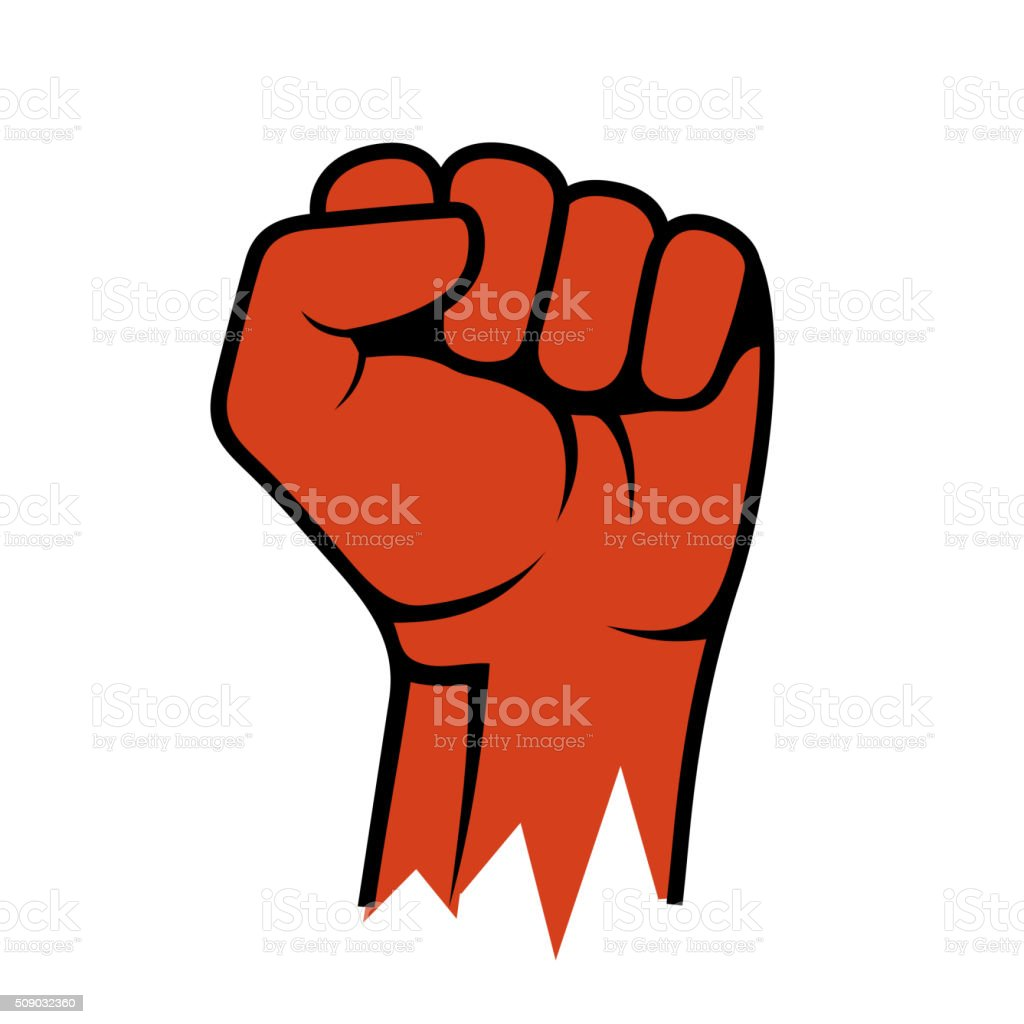 Raised Fist Icon. Hand Protest Strike Fight. Vector vector art illustration