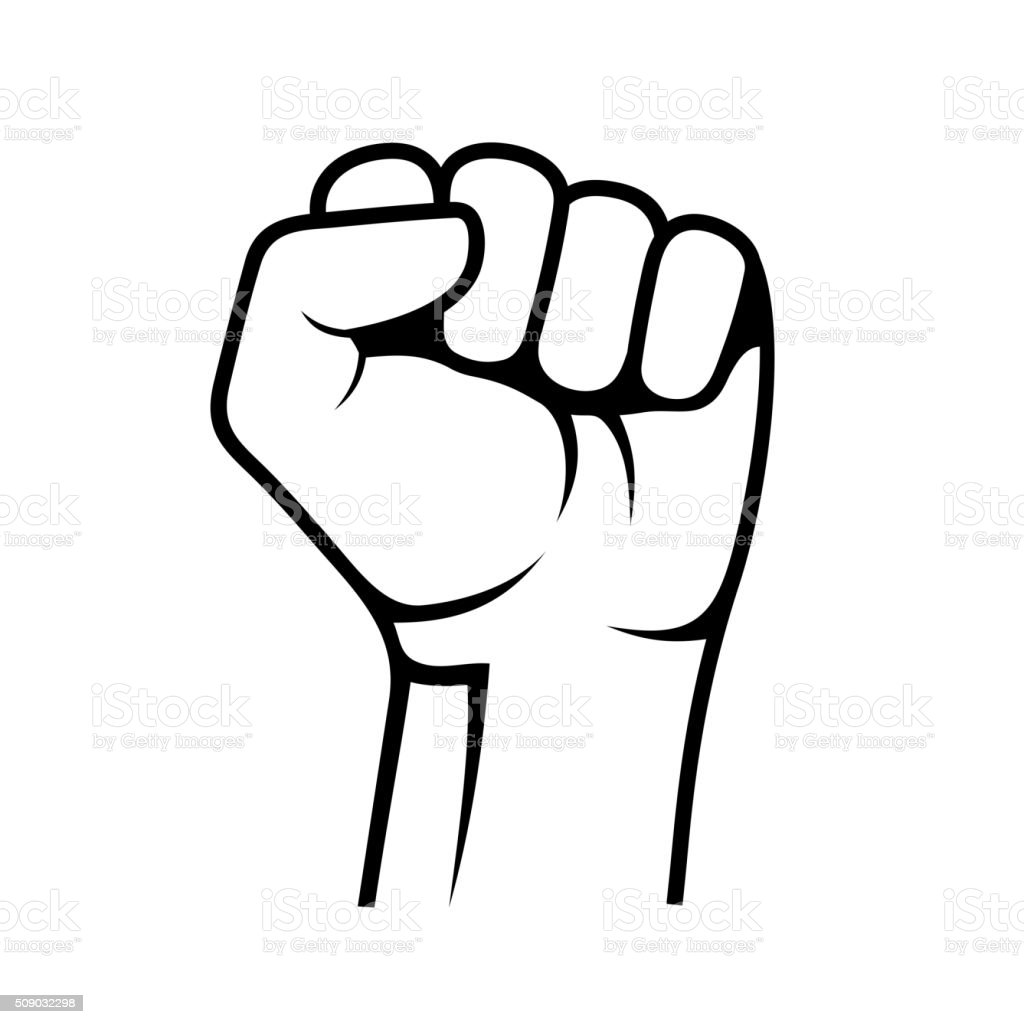 Raised Fist on White Background. Vector vector art illustration