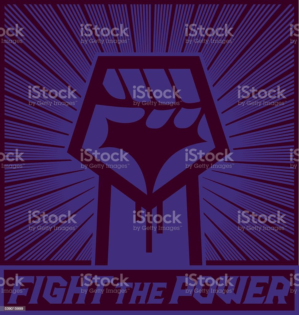 Raised fist, political protest sign, demonstration sign vector art illustration