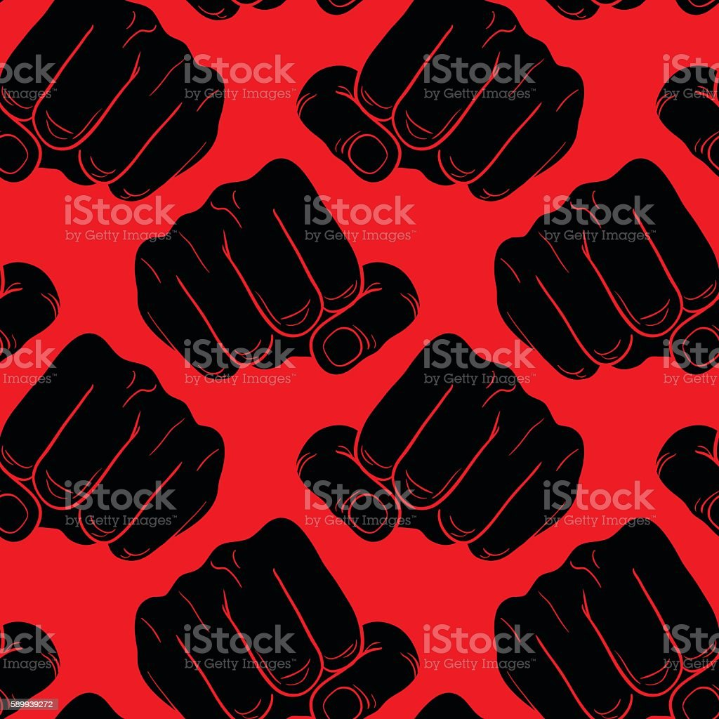 Raised fist. Symbol of power and authority. vector art illustration