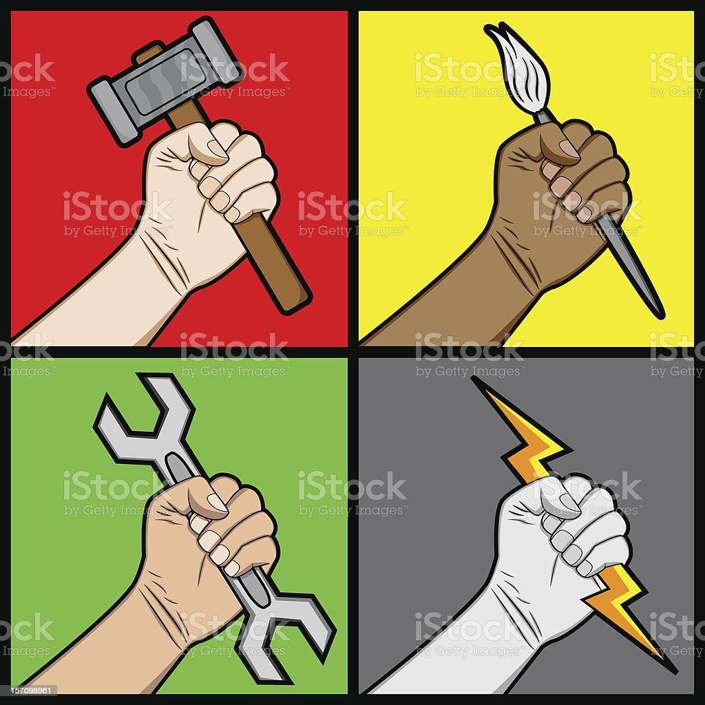 Raised Fists Holding a Tools royalty-free stock vector art