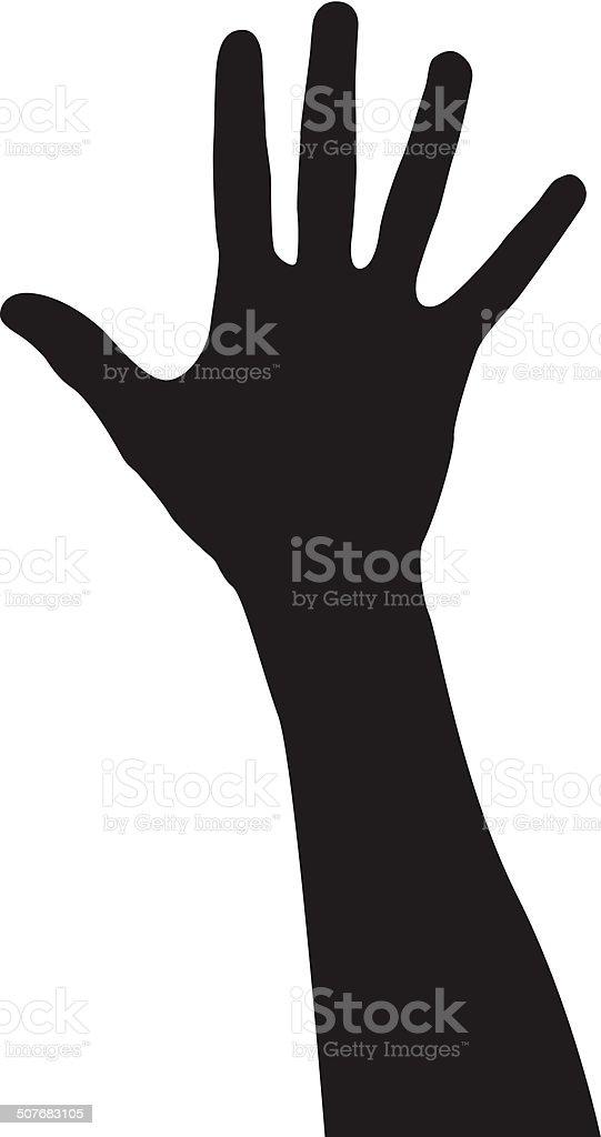 Raised Hand vector art illustration