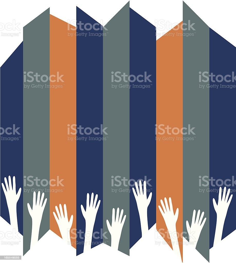 Raised hands forming a bottom border on a striped background royalty-free stock vector art