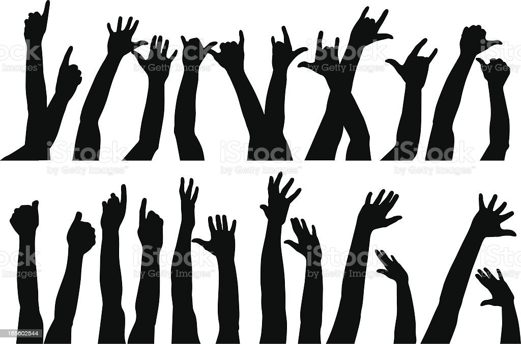 Raised hands II royalty-free stock vector art