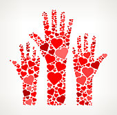 Raised Hands Red Hearts Love Pattern