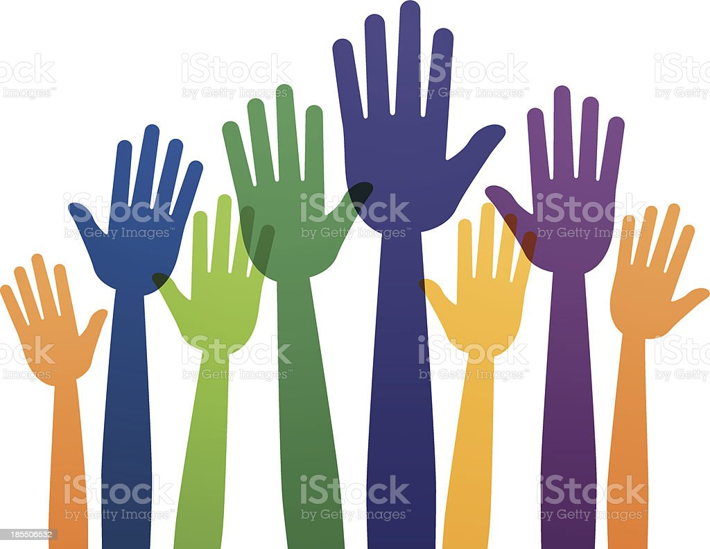 Raised Hands vector art illustration
