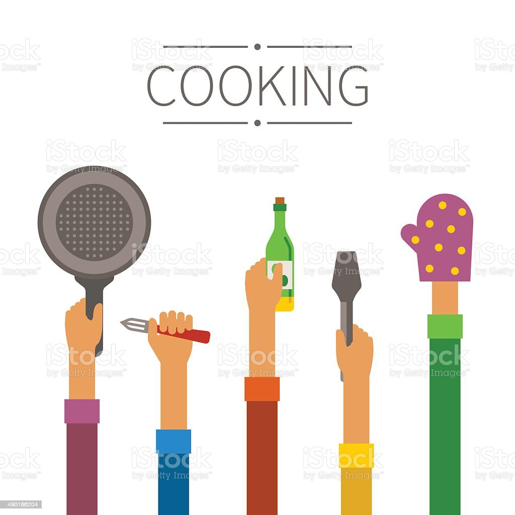 Raised hands with kitchenware concept in flat style vector art illustration