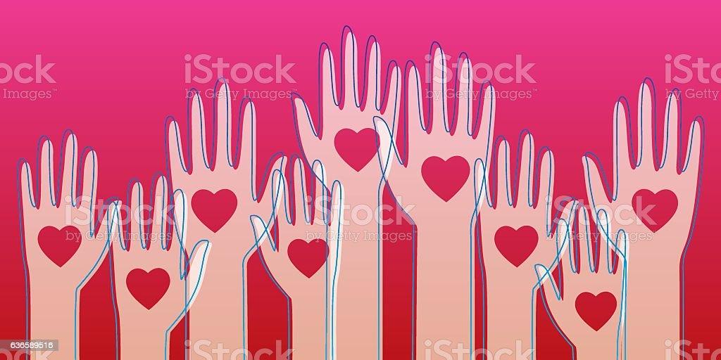 Raised Heart Hands vector art illustration