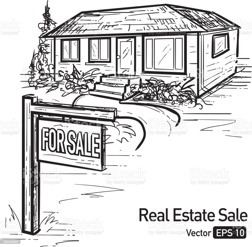 Raised ranch house with for sale sign vector art illustration
