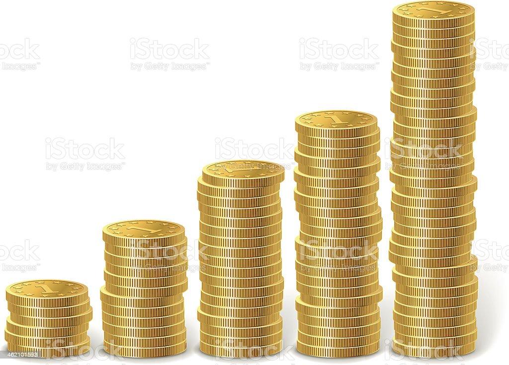 Raising stacks of golden coins vector art illustration