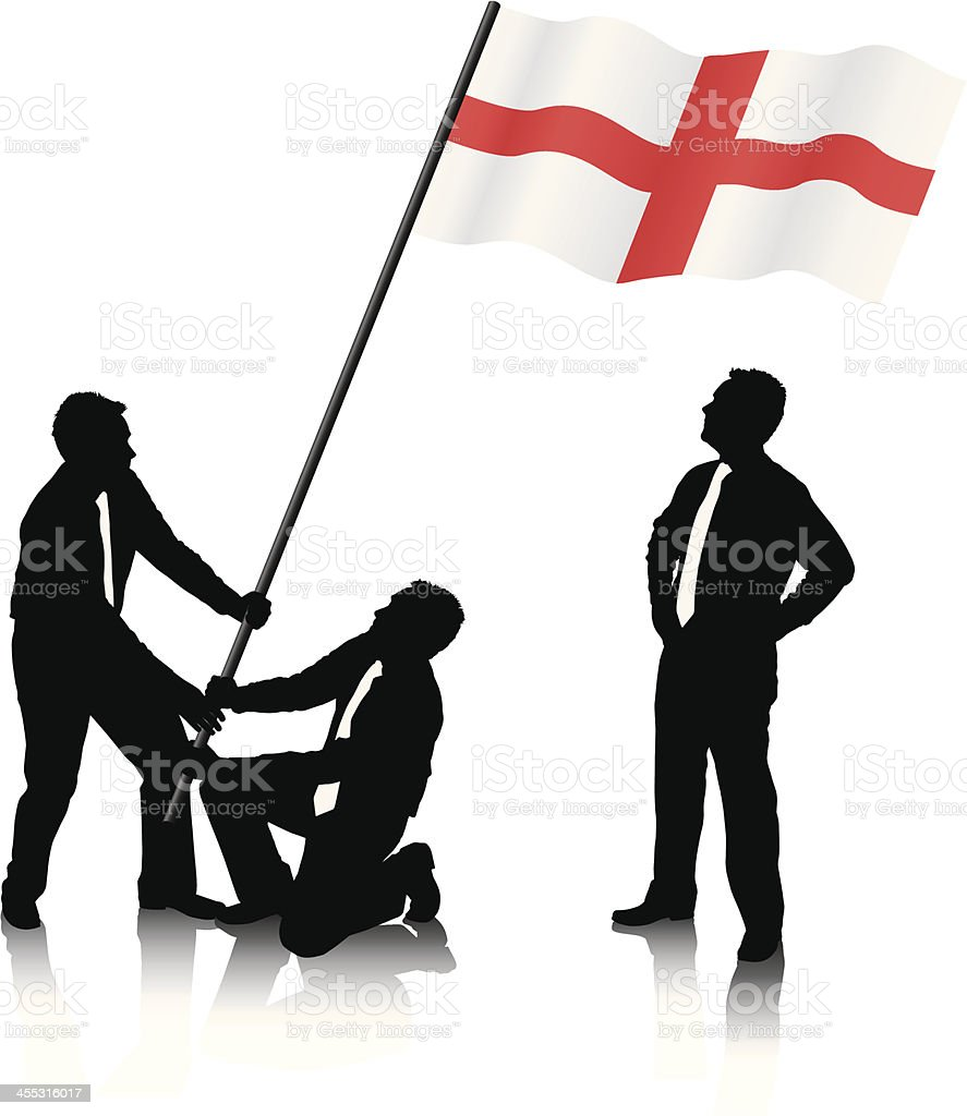Raising the English Flag royalty-free stock vector art