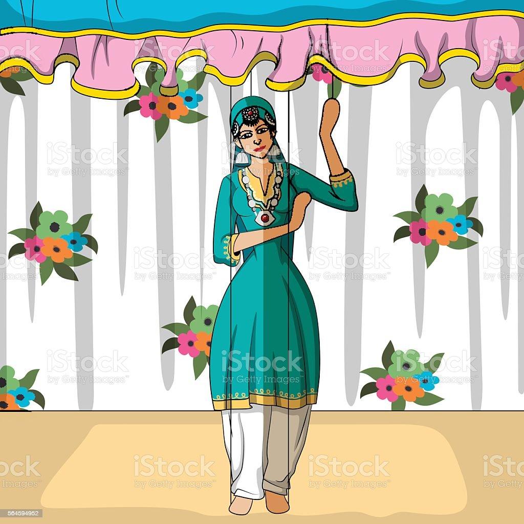 Rajasthani Puppet doing Kashmiri folk dance of  India vector art illustration