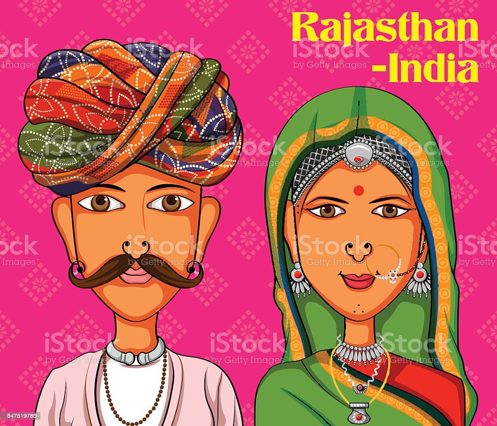 Rajasthanii Couple in traditional costume of Rajasthan, India vector art illustration