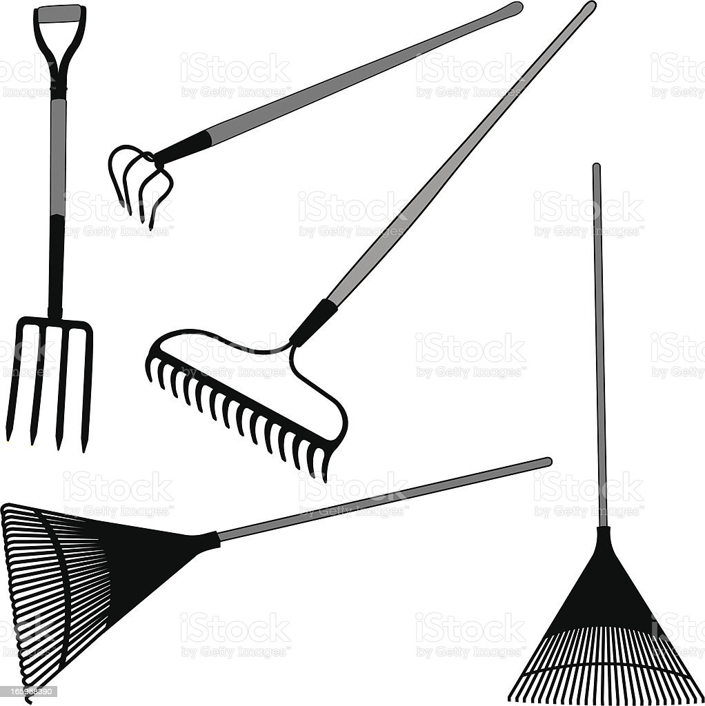 Rakes and Pitch Fork - Yard Work royalty-free stock vector art