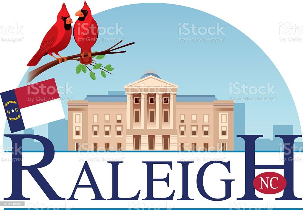 Raleigh Capitol vector art illustration