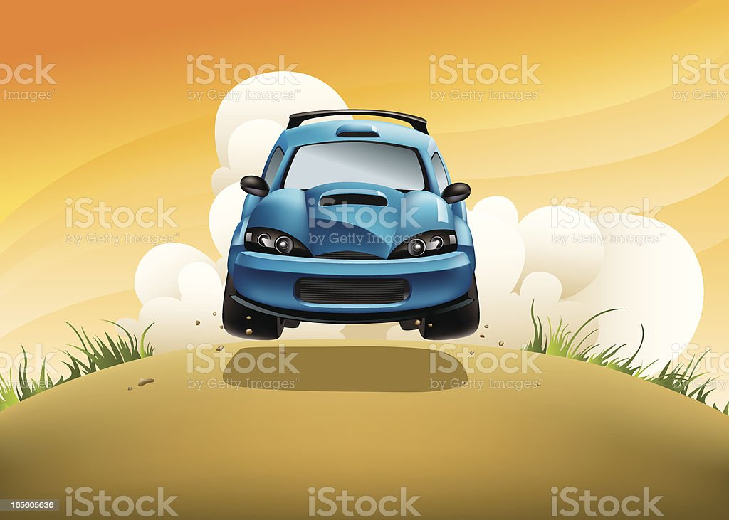 Rally car in action vector art illustration