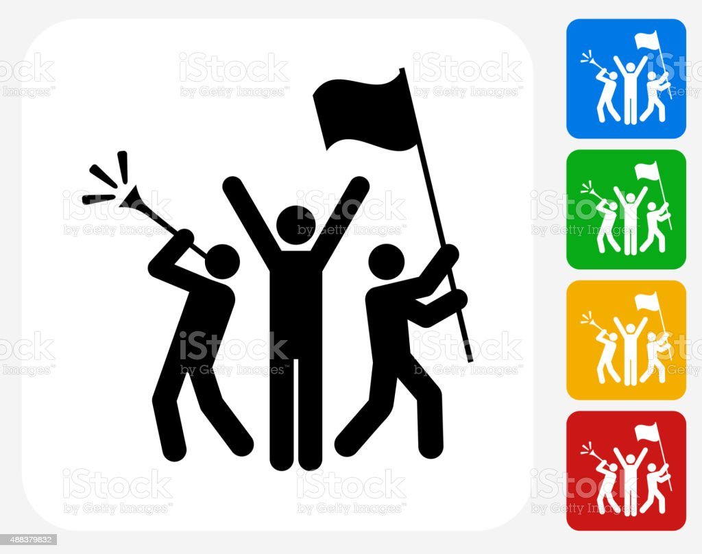 Rally Celebration Icon Flat Graphic Design vector art illustration