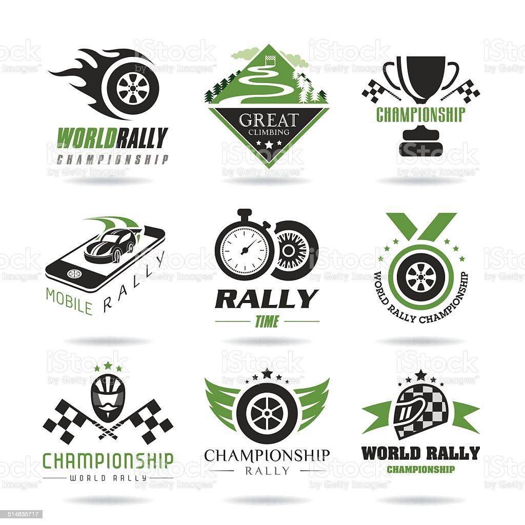 Rally icon set, sports icons - 3 vector art illustration