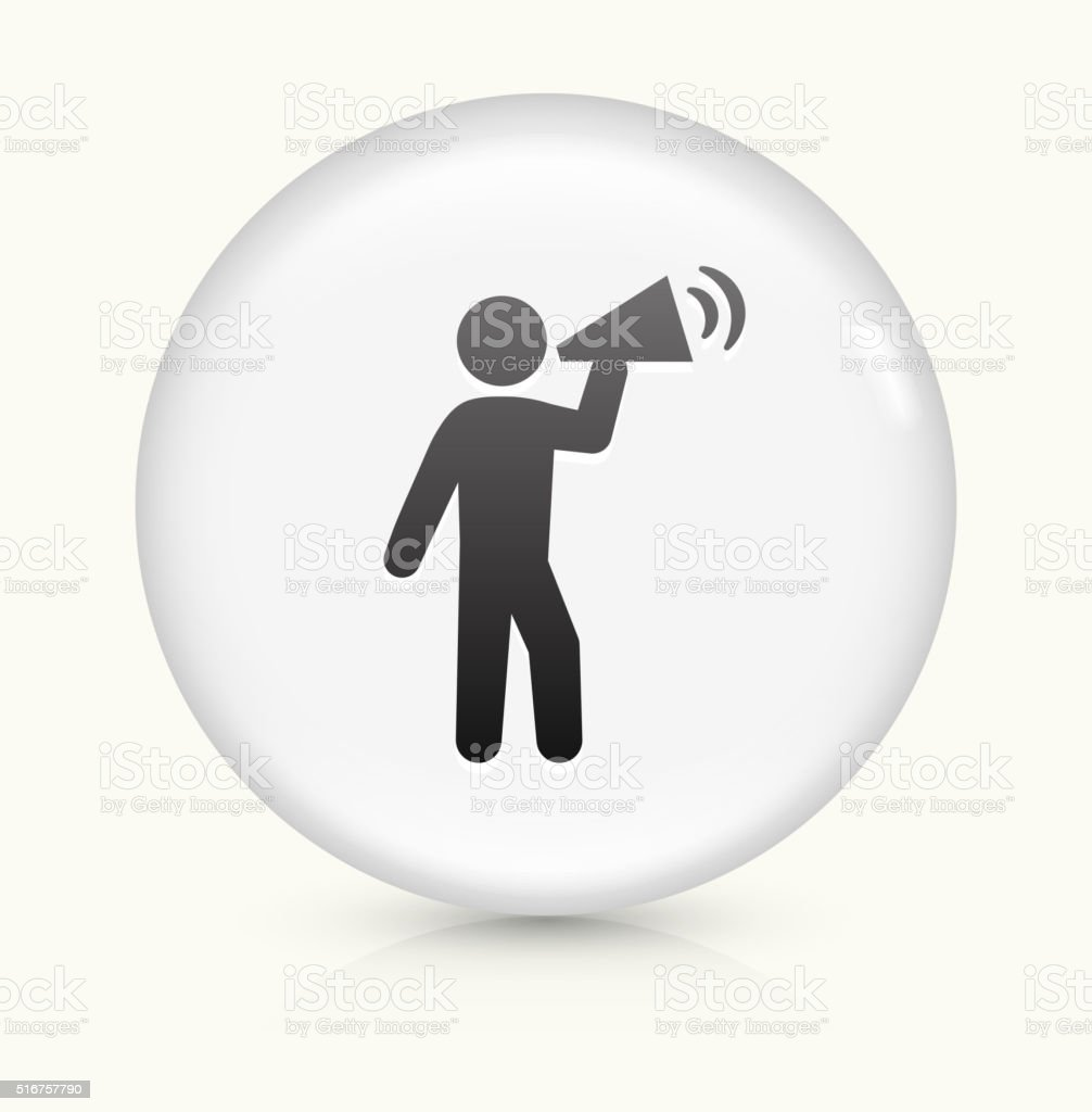 Rally Megaphone icon on white round vector button vector art illustration