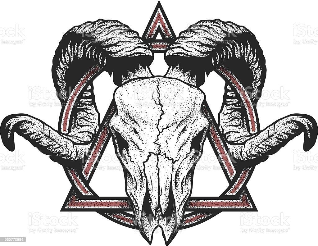 Ram skull with a geometric symbol. vector art illustration