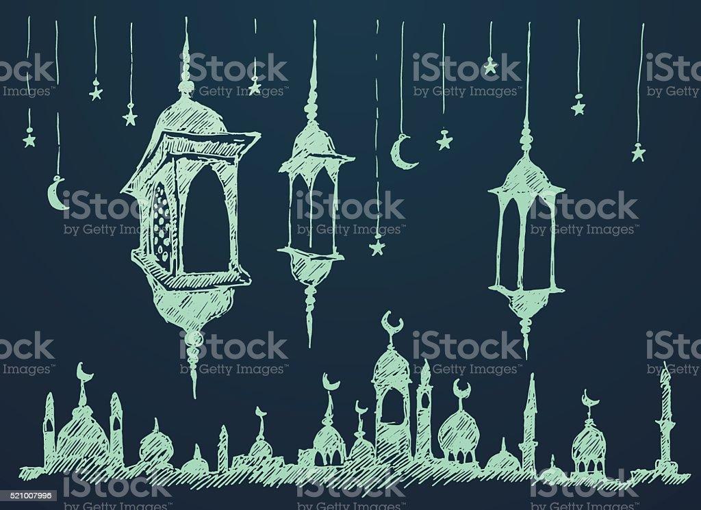 Ramadan celebration illustration hand drawn vector art illustration